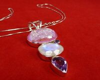 DRUSY, MOONSTONE & AMETHYST - ARTISAN DESIGN STERLING SILVER PENDANT WITH CHAIN