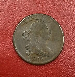 1806 Draped Bust 1/2C Circulated Copper US Half Cent Coin