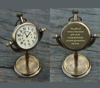 NAUTICAL MARINE ANTIQUE BRASS TABLE/DESK CLOCK WATCH ENGRAVED FREE ON BACK SIDE