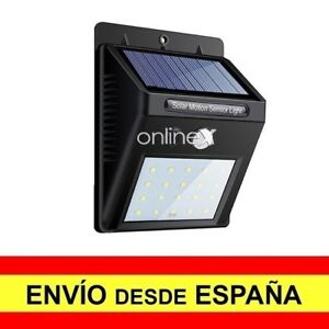 Foco Pared Solar 20 LED Sensor PIR de Movimiento Luz Alumbrado Exterior a2947