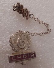 Vtg Sterling Silver School Choir Music Note Duo Lapel Pin Chain 1961 Enamel