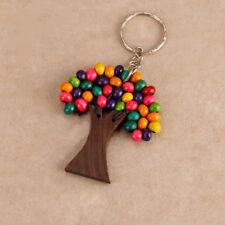 Wooden Tree of Life Keyring Keychain Painted Rainbow Beads Boho Hippy Accessory