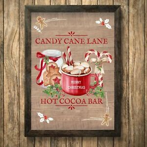 Hot Chocolate Print Sign,Christmas Picture Cocoa Wall Decoration  A4 Unframed 3