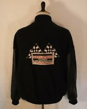 Wool Leather Sleeves Black Varsity Jacket Mens 2XL Embroidered Auto Racing Flags