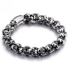 """Punk Bracelet For Men Stainless Steel Shiny Skull Charm Link Chain Brecelet 8.8"""""""