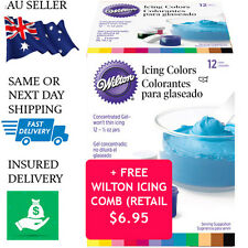 Wilton Icing Colours 12 Set Food Colouring Gel Paste - Fondant Cake Pack + GIFT