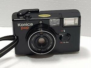 Konica POP Black HEXANON F4 Point & Shoot Compact 36mm Film  Flash HS