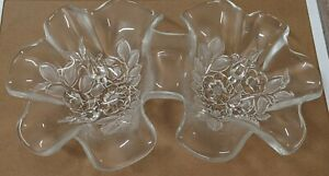 Crystal Clear & Frosted Etched Flowers Double Divided Nut Candy Dish Bowl