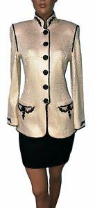 St John Marie Grey Evening Paillette Sparkly Skirt Suit - 4