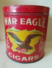 Antique Red War Eagle Cigars Tin HUMIDOR Canister - 2 For 5 Cents