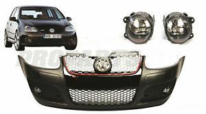 VW Golf 5 V MK5 Front Bumper GTI LOOK with Central Side Grilles Fogs