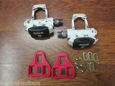VINTAGE FIRST GENERALITION LOOK CLIPLESS PEDALS WHITE WITH CLEATS