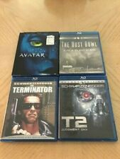 FOUR BLU RAYS DVDS. AVATAR. THE DUST BOWL. T2 JUDGEMEMT DAY. THE TERMINATOR