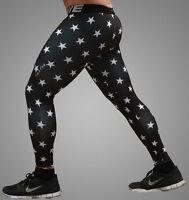 Mens Compression Base Layer Sports Under Wear Guard Tights Long Pants Black Star