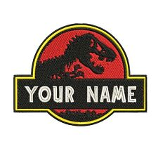 Adult Custom Jurassic Park Dino Embroidered Name Tag Patch [Hook] - Your Name