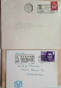 GREAT BRITAIN / OWLS 1964 - 1973 2 COVERS + OWL SLOGAN POSTMARKS OLDHAM CARDIFF