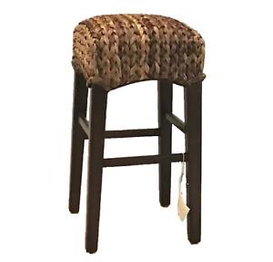 "NEW Pottery Barn Seagrass BARSTOOL 27"" Counter Height Stool Seat Havana Dark TAG"