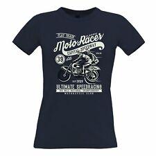Biker Womens TShirt Classic Moto Racer Captial Speedway Art Motorbike Retro Bike