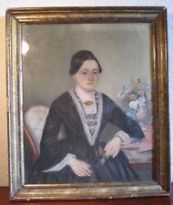 Damen-Portrait - Biedermeier Pastell - Bodensee (Umfeld Meersburg)