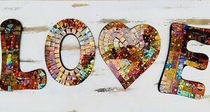 Mosaic LOVE - Calypso - wall art word hanging - Individual Letters
