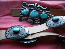 ANTIQUE PAWN TUFA CAST SILVER CONCHO BELT 10 BUCKLES TURQUOISE STONES SIGNED