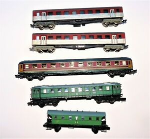 N Scale assorted European style coaches. Atlas Arnold Lima. Spares or repairs.