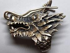 Vintage Huge Sterling Silver Detailed Dragon Biker Ring Size 11 3/4