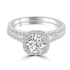 1 1/2 CT ROUND ENHANCED DIAMOND ENGAGEMENT RING SET H/SI1 14K WHITE GOLD PAVE