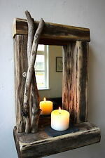 Rustic reclaimed Driftwood Farmhouse Mirror with decorated frame and shelf