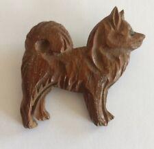 Art Deco Shiba Inu dog wooden brooch