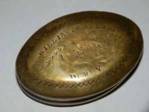 """ANTIQUE COLLIERY MINERS SOLID BRASS TOBACCO TIN """"WHELAN DERBY 1901"""""""