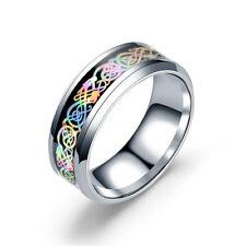 Fashion Colorful Dragon Titanium Stainless Steel Men's Wedding Band Rings 6-13