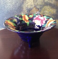 Vtg MALING China ~ART DECO ~Large Pedestal Bowl ~Cobalt Hand Painted PEONY #6504