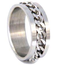 Edelstahl Drehring mit Kette 0,8cm breit Silber
