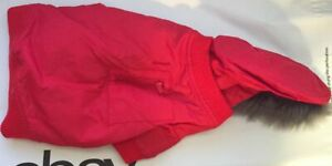 Snooty Dog Coat Spring Red Parker Fur Lined Hood Poly Lining #996C 10-14 inch