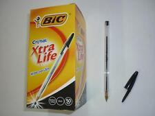 x50 Bic Cristal ball pens med. 1.0mm BLACK code:10204 Xtra Life writes over 2km