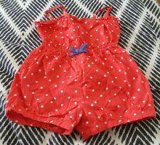 COTTON ON Girls Playsuit Red Spot Summer Shorts Dress Size 7