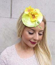 Yellow Velvet Orchid Flower Fascinator Hat Races Headpiece Rockabilly 1950s 2661
