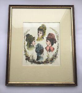 Antique Art Print 1800s Vintage Ladies Fashion Hand Coloured Print Hat Fashions