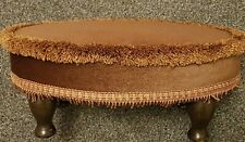 VINTAGE SHERBORNE LOW foot stool pouffe brown dralon velvet with Wooden Legs VGC