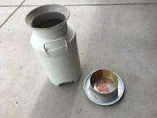 Vintage Metal Steel Milk Can Container W/ Lid