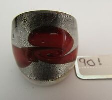 Style Glass Ring. Uk-P.Us-7.5.(90!) A Red Ribbon/Silver Lampwork/Murano