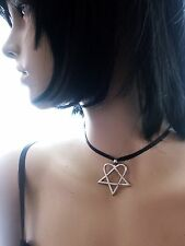 Heartagram Gothic HIM Metal Pewter Pendant Necklace Choker Black Cord ADJUSTABLE