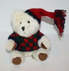 "Hugfun TEDDY BEAR 6"" White Plush Hat Scarf Soft Toy Costco Winter Stuffed Animal"