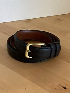 Coach Black Burnished Cowhide Leather Belt Brass Buckle Size 34 USA 5700