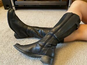 Clarks Black Leather Knee High Riding Boots Size 7 EUR 41
