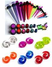 48pc Color Ear Stretching Kit Beginner Set 00G-14G Tapers Plugs Spirals gauges