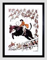 GROUP BLOOD SPORT FOX HUNT HORSE DOG JUMP FENCE WEIRD FRAMED PRINT B12X7355