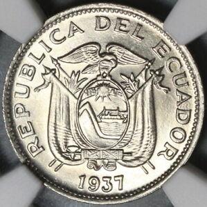 1937 NGC MS 66 Ecuador 10 Centavos GEM BU Coin (20102403C)