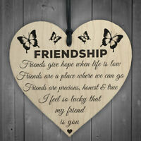 Friendship Plaque Sign Best Friend Gift Shabby Chic Heart Birthday Friend's Gift